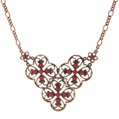 Copper Tone Coral Orange Filigree Bib Necklace 16   19 Inch Adjustable