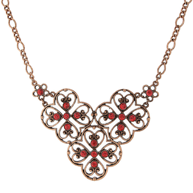 Copper-Tone Coral Orange Filigree Bib Necklace 16 In Adj