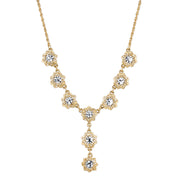 Gold-Tone Crystal Y-Necklace 16 - 19 Inch Adjustable