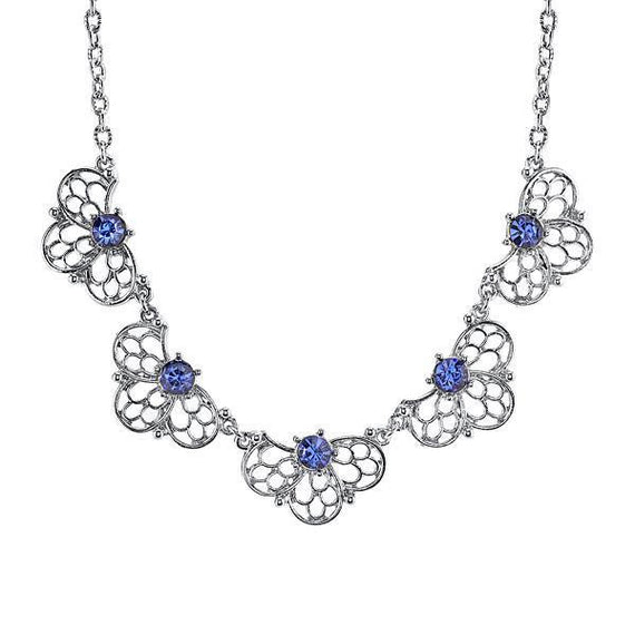 1928 Jewelry: 1928 Jewelry - Silver-Tone Blue Collar Necklace