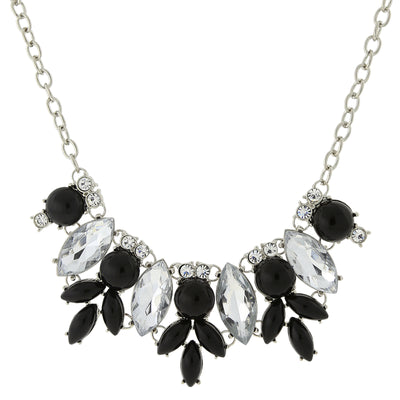 Silver-Tone Opaque Black And Crystal Necklace 16 - 19 Inch Adjustable