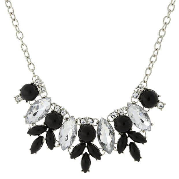 Silver-Tone Opaque Black and Crystal Necklace 16 In Adj