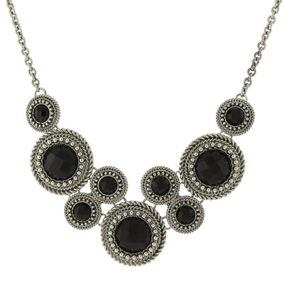 Silver Tone Black Round Faceted Bib Necklace 16   19 Inch Adjustable