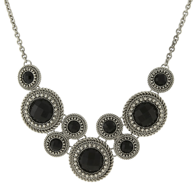 Silver-Tone Black Round Faceted Bib Necklace 16 In Adj