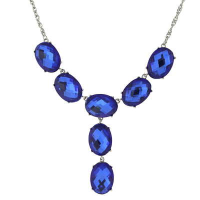 Silver-Tone Blue Oval Faceted Y-Necklace Drop Necklace 15 In Adj