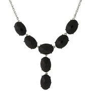 Silver-Tone Blue Oval Faceted Y-Necklace Drop Necklace 15 In Adj BLACK