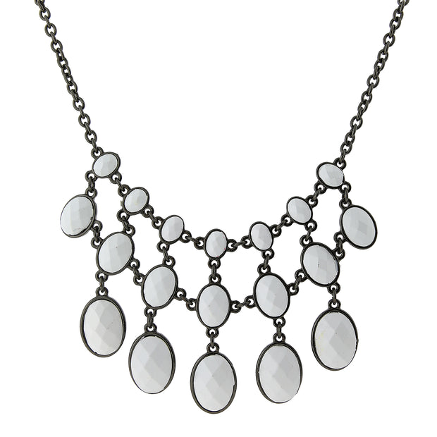 Black-Tone White Opaque Faceted Bib Necklace 16 In Adj