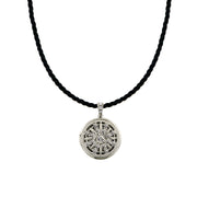 Silver Tone Crystal Round Locket Cord Necklace 18 In