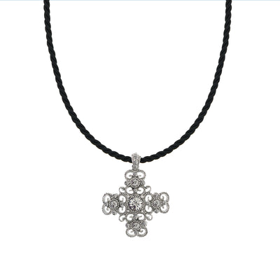 Silver-Tone Crystal Cross Pendant Cord Necklace 16 In Adj
