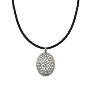 Silver Tone Crystal Oval Pendant Cord Necklace 18 In