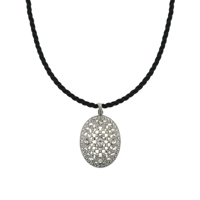 Silver-Tone Crystal Oval Pendant Cord Necklace 18 In