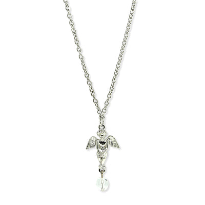 Silver Tone Angel With Crystal Necklace 16 - 19 Inch Adjustable