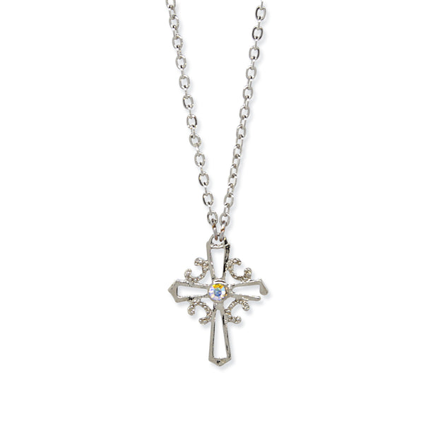 Silver/Crystal AB Cross Necklace 16 In Adj
