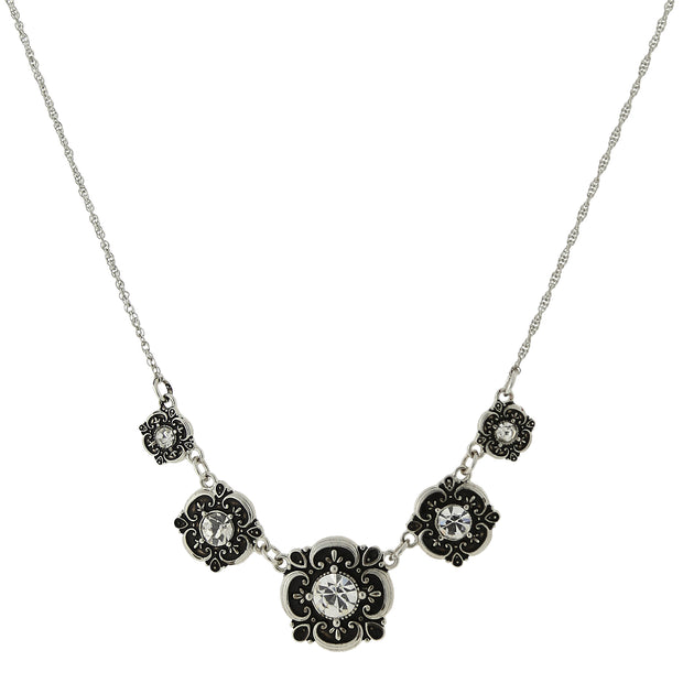 2028 Crystal Bib Necklace 16 In Adj