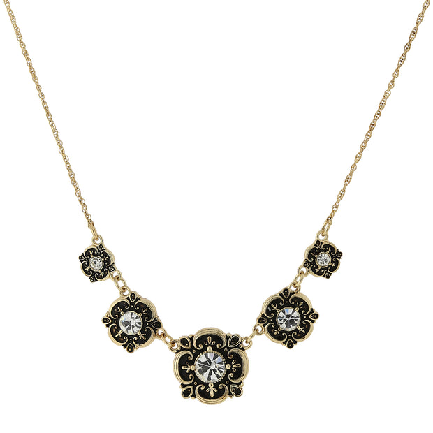 Gold-Tone Crystal Bib Necklace 16 In Adj