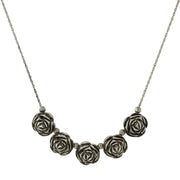 Silver Tone Flower Bib Necklace 16 19 Inch Adjustable