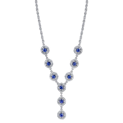 Silver-Tone Sapphire Blue Color Crystal Flower Y-Necklace 16 In Adj