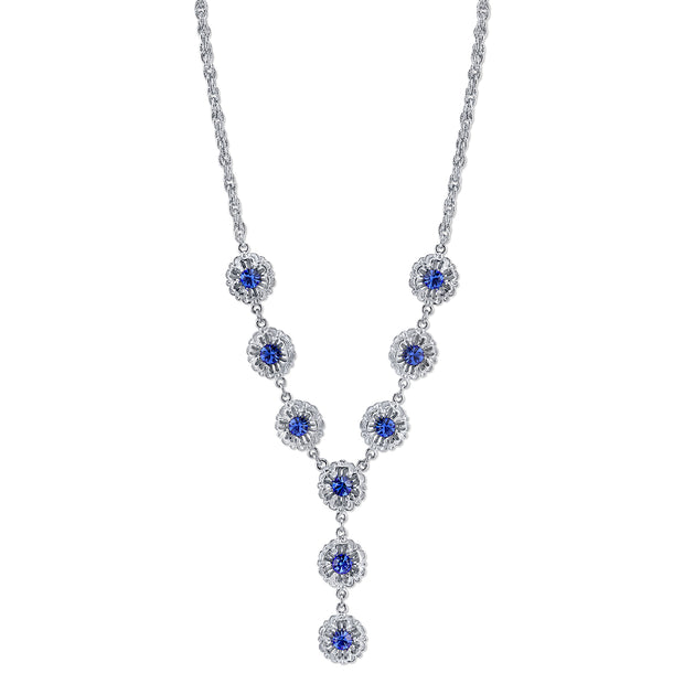 Silver-Tone Sapphire Blue Color Crystal Flower Y-Necklace 16 - 19 Inch Adjustable