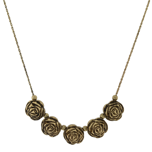 Gold-Tone Flower Bib Necklace 16 - 19 Inch Adjustable