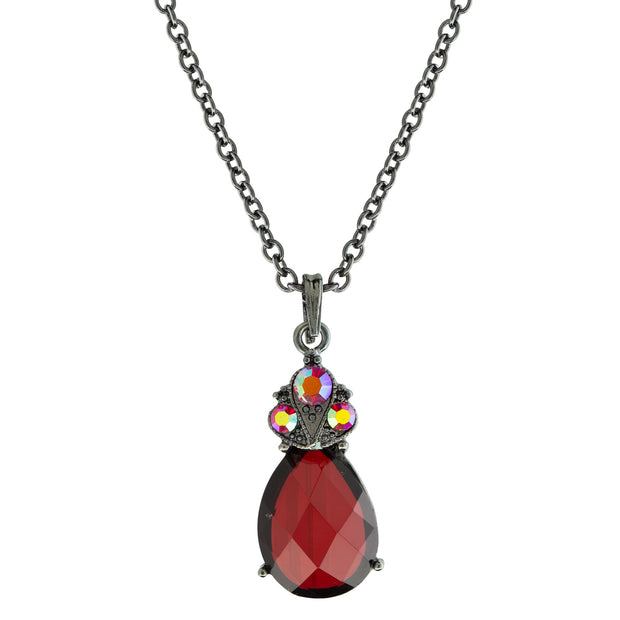 Black Tone Red Teardrop Pendant Necklace