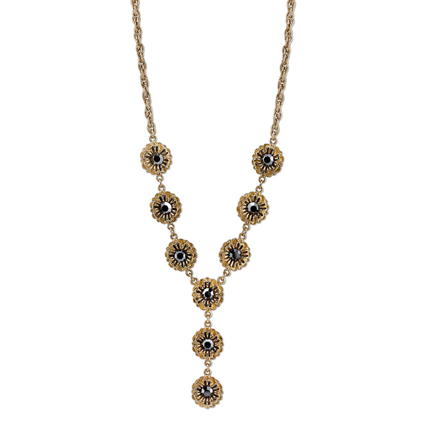 Gold-Tone Hematite Color Crystal Flower Y-Necklace 16 In Adj