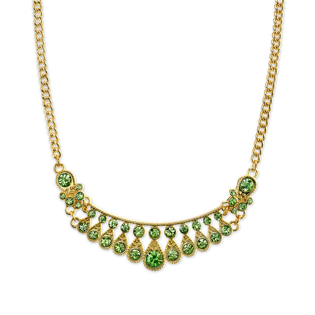 Peridot Green Color Crystal Bib Necklace 16  Adjustable