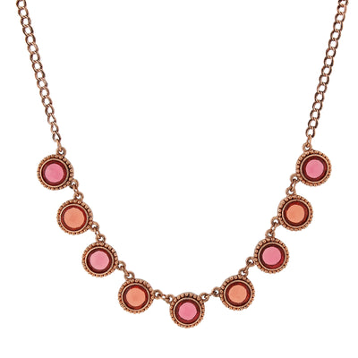 Copper-Tone Pink-Orange And Raspberry Color Faceted Collar Necklace 16 - 19 Inch Adjustable