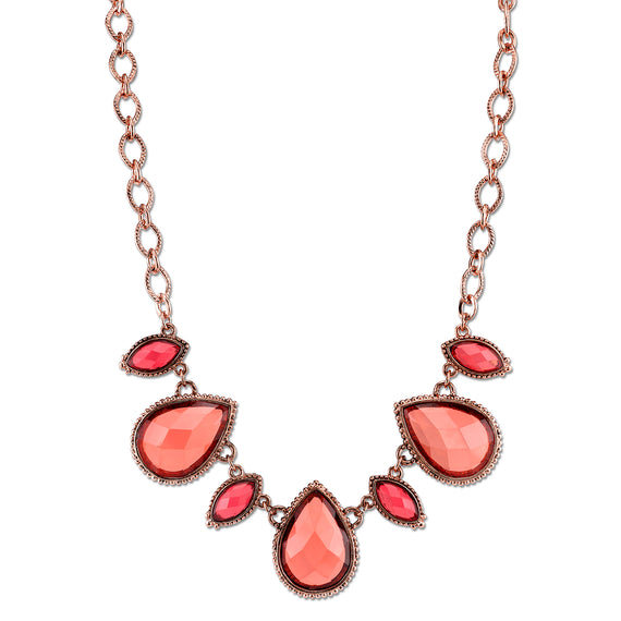 Copper-Tone Pink-Orange and Raspberry Color Collar Necklace 16 In Adj