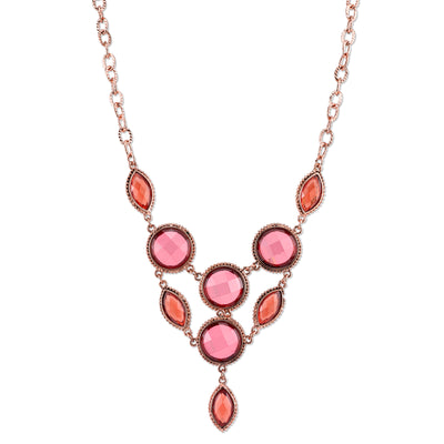 Copper-Tone Pink-Orange And Raspberry Color Faceted Bib Necklace 16 - 19 Inch Adjustable