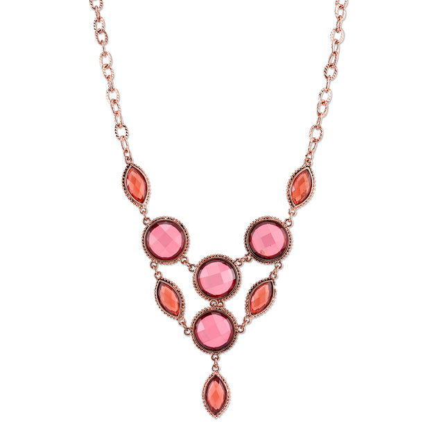 Copper-Tone Pink-Orange and Raspberry Color Faceted Bib Necklace 16 In Adj