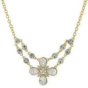 Gold Tone Clear Crystal Flower Necklace 16   19 Inch Adjustable
