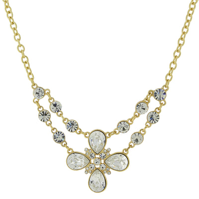 Gold-Tone Clear Crystal Flower Necklace 16 In Adj