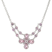 Silver-Tone Lt. Amethyst Purple Color Flower Necklace 16 In Adj