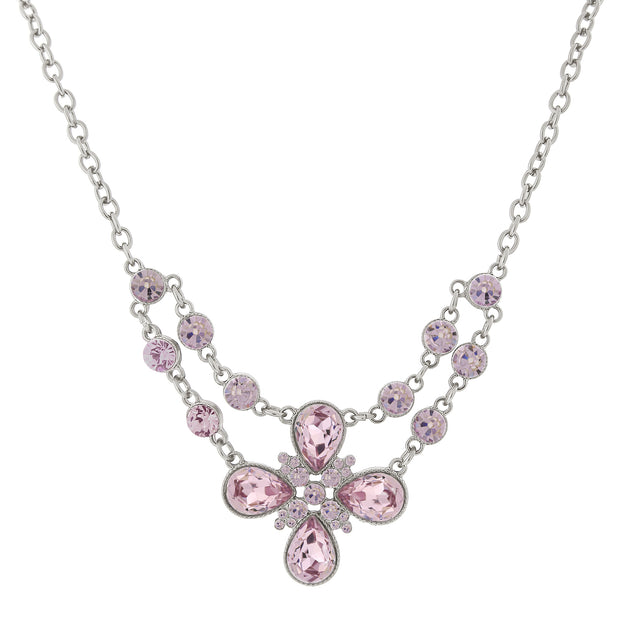 Silver Tone Flower Necklace 16   19 Inch Adjustable Light Purple