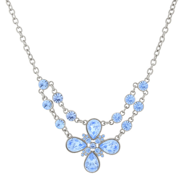 Silver Tone Flower Necklace 16   19 Inch Adjustable Light Blue