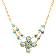 Gold Tone Clear Crystal Flower Necklace 16   19 Inch Adjustable Light Blue
