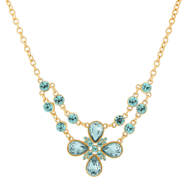 2028 Gold-Tone Clear Crystal Flower Necklace 16 In Adj