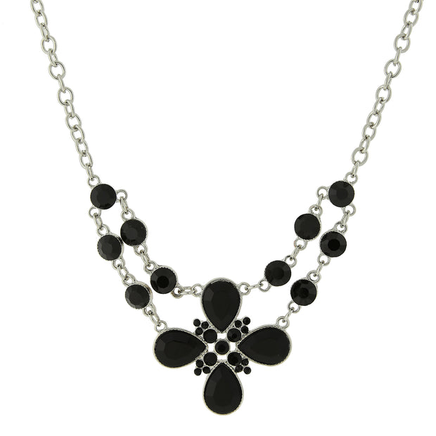 Silver-Tone Black Flower Bib Necklace 16 In Adj