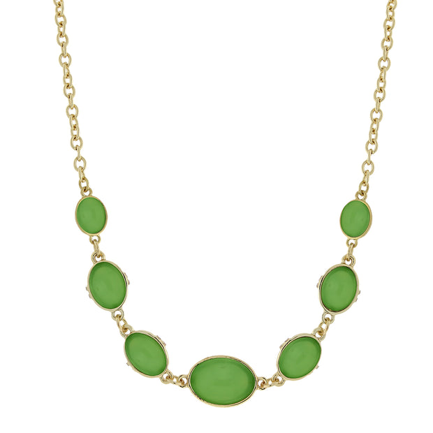 Gold Tone Green Cabachon Collar Necklace 16   19 Inch Adjustable
