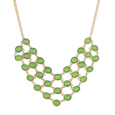 Gold Tone Green Cabachon Bib Necklace 16   19 Inch Adjustable