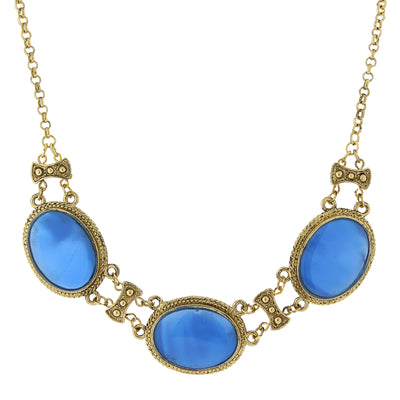 Gold Tone Genuine Mother Of Pearl With Blue Enamel Collar Necklace 16   19 Inch Adjustable