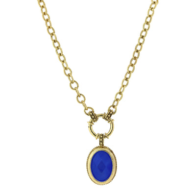 Gold-Tone Blue Oval Pendant Necklace 16 - 19 Inch Adjustable