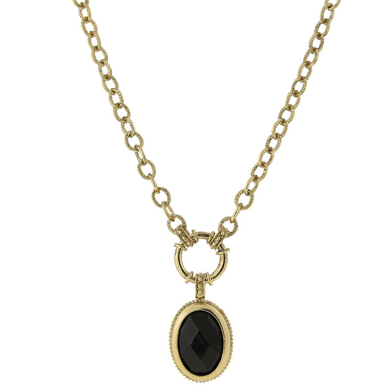 Fashion Jewelry - 2028 Gold-Tone Jet Black Oval Pendant Necklace