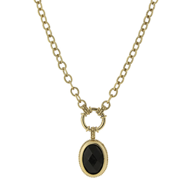 Gold Tone Black Oval Pendant Necklace 16   19 Inch Adjustable