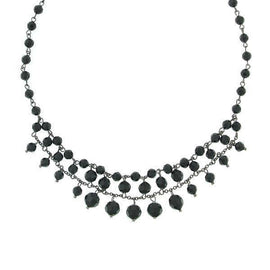 Black-Tone Black Faceted Beaded Bib Necklace 16 Adj.