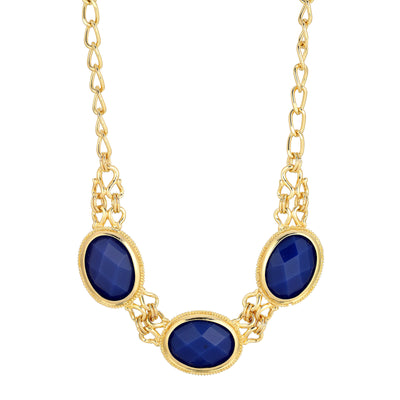 Gold-Tone Blue Faceted Collar Necklace 16 - 19 Inch Adjustable