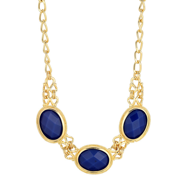 Gold-Tone Blue Faceted Collar Necklace 16 In Adj