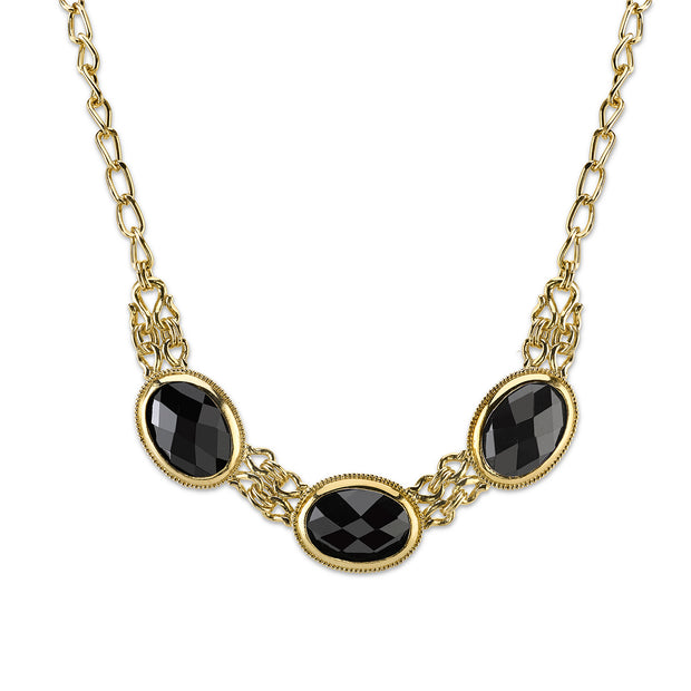 Gold-Tone Black Faceted Collar Necklace 16 In Adj