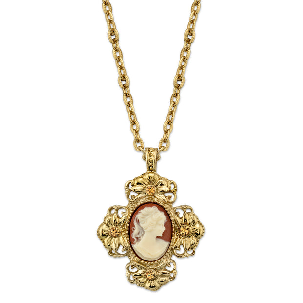 Gold Tone Faux Dark Carnelian Cross Cameo Necklace 16 In Adj