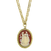Gold-Tone Faux Dark Carnelian Cameo Oval Pendant Necklace 16 In Adj
